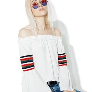 Dolls Kill floaty boho off-shoulder top